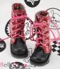13-05 Blythe/Pullip 靴.格子赤い+桃色靴ひも