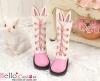 25-4 Blythe/Pullip ウサギの耳5穴ブーツ.Deep Pink 濃いピンク