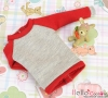 388.【ND-10】Blythe/Pullip ラグラン 長袖Tシャツ Long Sleeve Raglan Tee # Grey+Red