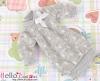 322.NK-32 Blythe Pullip  パフスリーブ装飾されたドット洋服 (蝶結び) # 白色 White