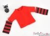 220.【NT-1】Blythe Pullip(独立袖 )Tシャツ # ストライプ赤色 Stripe Red