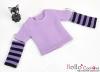 228.【NT-2】Blythe Pullip(独立袖 )Tシャツ # ストライプ紫色 Stripe Purple