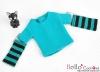 354.【NT-3】Blythe Pullip(独立袖 )Tシャツ #ストライプ緑青色 Stripe Teal