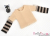 361.【NT-5】Blythe Pullip(独立袖 )Tシャツ # ストライプ茶色 Stripe Brown