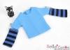 335.【NT-6】Blythe Pullip(独立袖 )Tシャツ # ストライプブルー Stripe Blue