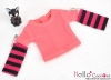 338.【NT-7】Blythe Pullip(独立袖 )Tシャツ # ストライプ濃いピンク Stripe DeepPink