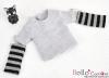 340.【NT-9】Blythe Pullip(独立袖 )Tシャツ # ストライプグレー Stripe Grey