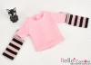 341.【NT-10】Blythe Pullip(独立袖 )Tシャツ # ストライプピンク Stripe Pink