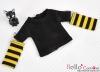 343.【NT-12】Blythe Pullip(独立袖 )Tシャツ #  黒Black/黄色Yellow