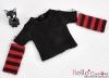 344.【NT-13】Blythe Pullip(独立袖 )Tシャツ #  黒Black/赤色Red