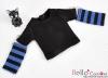 345.【NT-14】Blythe Pullip(独立袖 )Tシャツ #  黒Black/ブルーBlue