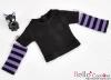 346.【NT-15】Blythe Pullip(独立袖 )Tシャツ #  黒Black/紫Purple
