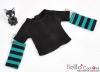 347.【NT-16】Blythe Pullip(独立袖 )Tシャツ #  黒Black/青緑色Teal