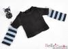 349.【NT-18】Blythe Pullip(独立袖 )Tシャツ #  黒Black/空色SkyBlue