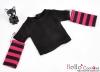 351.【NT-19】Blythe Pullip(独立袖 )Tシャツ #  黒Black/濃いピンクDeepPink