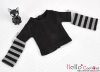 353.【NT-20】Blythe Pullip(独立袖 )Tシャツ #  黒Black/グレー Grey
